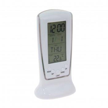 Будильник luazon lb-02 «обелиск», часы, дата, температура, подсветка
