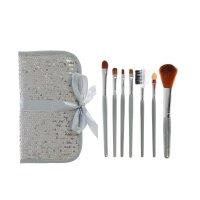 Набор для макияжа 7пр футляр на завязках с паетками серебро
