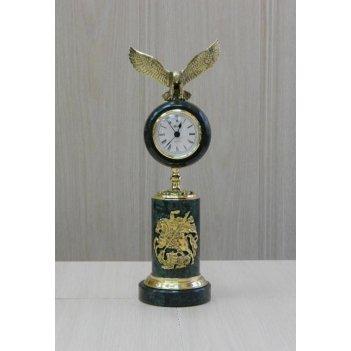 Часы подарочные из зеленого мрамора с орлом