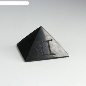 Пирамида из шунгита близнецы, полированная, 5 см