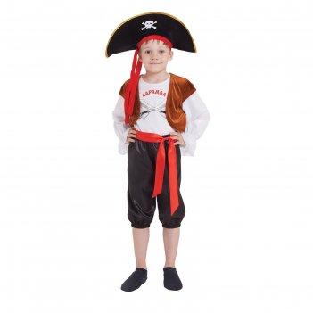 Костюм пирата карамба шляпа, джемпер с жилетом бриджи, пояс размер 32 рост
