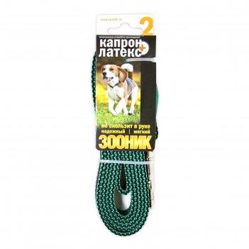 Поводок капроновый с двойной латексной нитью зооник, 2 м х 2 см, зелёный