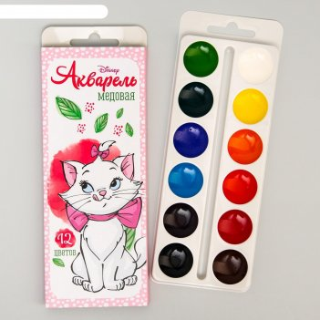 Акварель медовая «кошечка мари» коты-аристократы, 12 цветов, в картонной к