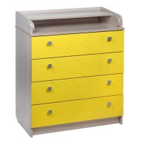 Пеленальный комод львёнок, 4 выдвижных ящика, цвет ясень шимо светлый жёлт