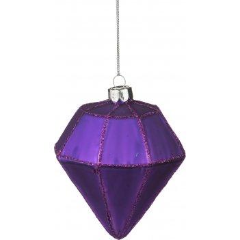 Декоративное изделие шар стеклянный 8*10 см. цвет: фиолетовый (кор=96шт.)