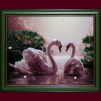 Фото картины из страз сваровски - влюбленные лебеди