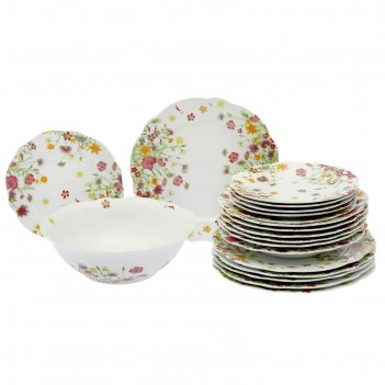 Сервиз столовый 19 предметов meadow: тарелка десертная 6 шт, тарелка обеде