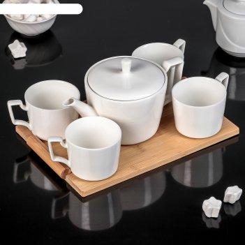 Набор чайный эстет, 5 предметов: чайник 800 мл, 4 кружки 220 мл, на деревя