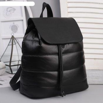 Рюкзак молодёжный, отдел на шнурке, цвет перламутр чёрный