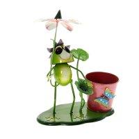 Фигура садовая с кашпо лягушонок под цветком