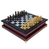 Шахматы сувенирные в деревянной шкатулке с ящичком 11х39х39 см