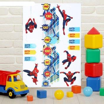 Наклейка - ростомер супергеройчеловек паук, 50 х72 см