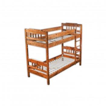 Двухъярусная кровать «мария», 800 x 1900 мм, лестница справа, массив сосны