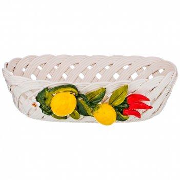 Изделие декоративное корзина с лимонами большая