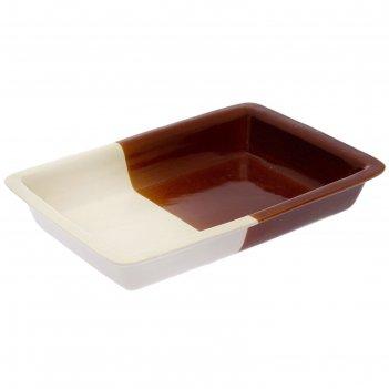 Противень для запекания, бело-коричневый, 2 л