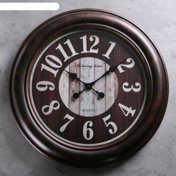 Часы настенные, круглые, римские цифры, циферблат под дерево, корич, d=60