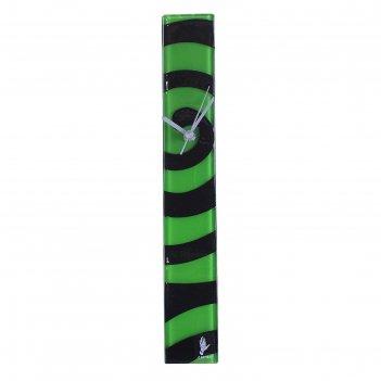Часы настенные спираль, черно-зеленые