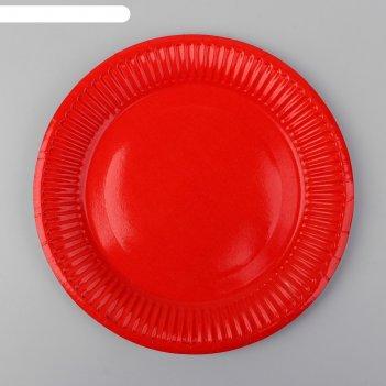 Тарелка бумажная однотонная, цвет красный