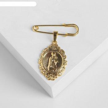 Булавка с подвеской икона 3,5см, цвет белый в золоте