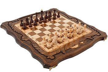 Шахматы + нарды резные c араратом, haleyan, 50х55см