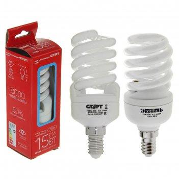 Лампа энергосберегающая старт, е14, 15 вт, 4000 k, 230 в, холодный белый