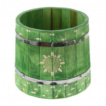 Кадка  с гнётом 10 л, крашеная и резная, цвет еловая зелень