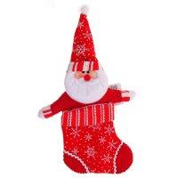 Носок для подарка дед мороз (белые снежинки, ручки в стороны)