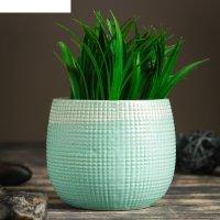 Кашпо керамическое зеленое 11*11*10 см