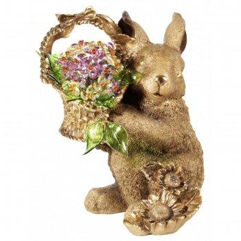 Статуэтка кролик с хрустальными цветами v