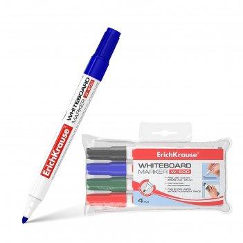 Набор маркеров для доски 4 цвета 0.8-2.5 мм erich krause w-500, для письма