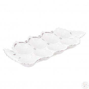 Поднос для яиц queens crown платиновый узор корона 34см
