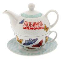 Чайный набор любимая мамочка, чайник 350 мл, кружка 200 мл, блюдце 15 см