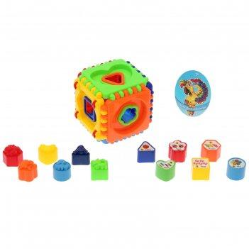 Сортер-куб развивающий, 12 элементов