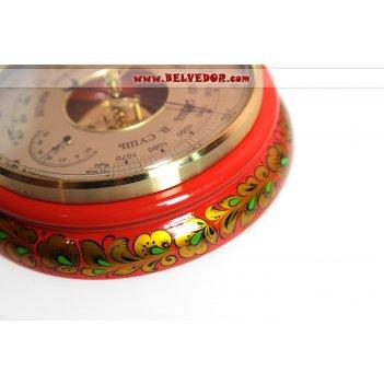 Барометр с худож росписью кудрина преданья старины красный золото/зелень