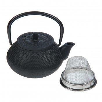 Чайник с ситом 300 мл восточная ночь, цвет черный, с эмалированным покрыти
