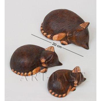 В1-0462 статуэтка кошка спящая (18,15,12 см.), набор 3 шт.