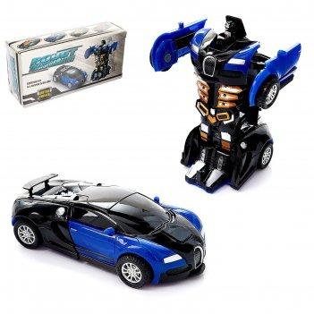 Робот-трансформер инерционный спорткар, трансформируется автоматически при