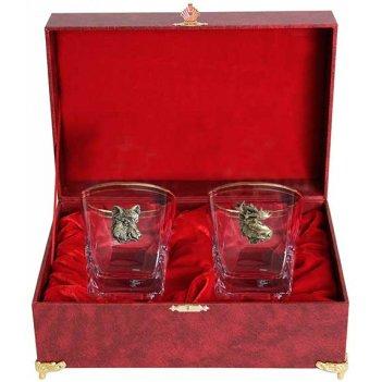 Набор из двух бокалов для виски звери кабан+лось(латунь) в шкатулке