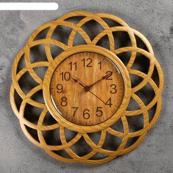 Часы настенные, серия: интерьер, секвойя 25х25 см, плавный ход