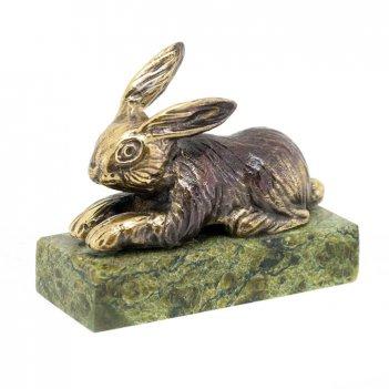 Статуэтка кролик средний бронза змеевик