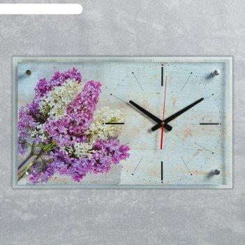 Часы настенные, серия цветы,  сирень, плавный ход, 59.5х36 см