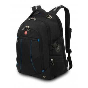 Рюкзак wenger, чёрный/синий, полиэстер 900d/рипстоп, 36x19x47 см, 32 л