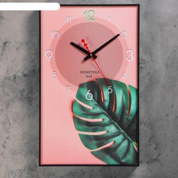Часы настенные, серия: природа, лист папоротника, 37х60 см