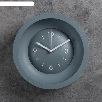 Часы настенные классика, d=25.4, ход плавный, без стекла, серые