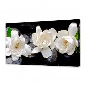 Картина на холсте белые цветы 50х100 см