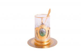 Набор чайный флюорит (тарель, подстаканник, ложка)
