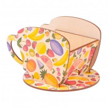 Чайный домик чашка с фруктами 8х8,5х9см