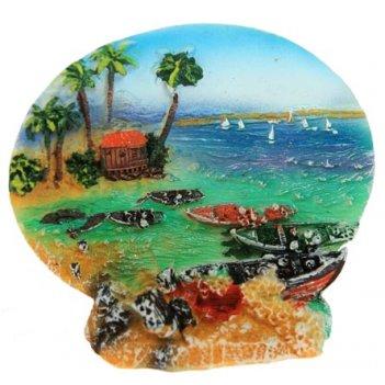 Тарелка декоративная морская бухта 3d 10см