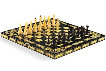 Шахматы арабески-марин мореный дуб, янтарь, 42х42см