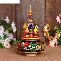 Сувенир-шкатулка музыкальная храм, 19х15,5 см, хохлома